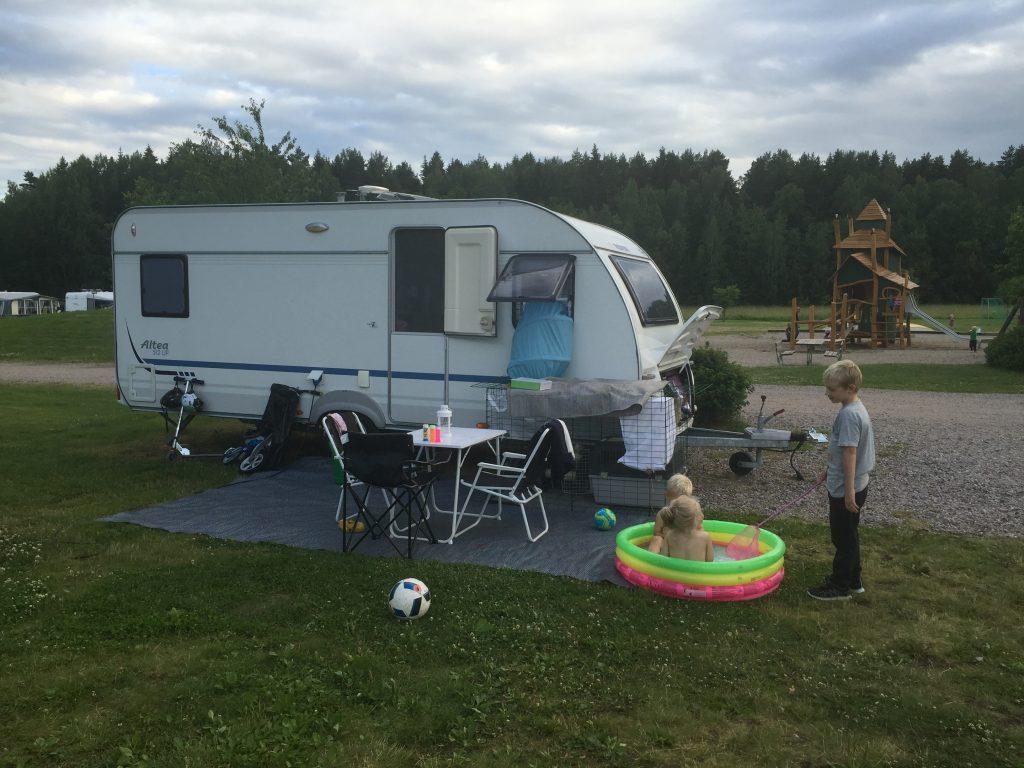 Camping vid Parken Zoo i Eskilstuna.