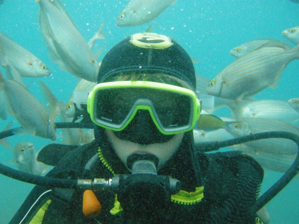 Robins första dyk i öppet hav!